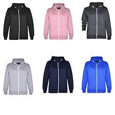 Boys Girls Kids Plain Unisex Fleece Zip Long Sleeved Hoodie Sweatshirt Jacket