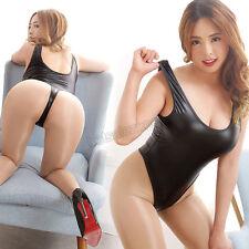 elastic spandex Latex Sleeveless U Bodysuit Leotard Jumpsuit Swimwear