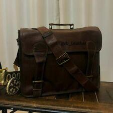 """Shoulder Handmade Brown Bag 18"""" Men's Real Ultimate Leather Satchel Messenger"""