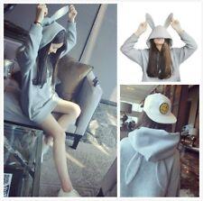 Women Cute Rabbit Ears Hooded Sweatershirt Girls Long Sleeve Sweater Top Outwear
