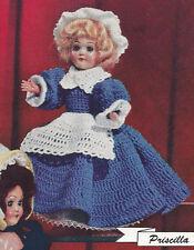 Vintage Crochet PATTERN 8-inch Doll Clothes Dress Apron Hat Petticoat Priscilla