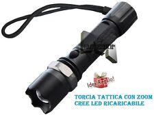 TORCIA TATTICA MILITARE 1100 LM ZOOM CREE LED LUMENS XENON  RICARICABILE mshop
