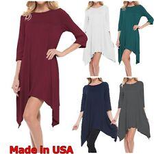 USA Women 3/4 Sleeve Tunic Top Scoopneck Dress Hi Low Hem Loose Fit S M L