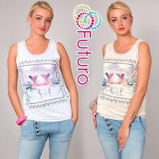 Ladies Vest Top Secret Palms Print Casual 100% Cotton T-Shirt Sizes 8-12 FB51