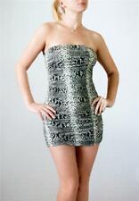 FASHION MAGAZINE Gray Ruched Snake Pattern Strapless Tube Micro Mini Dress