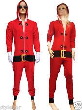 UNISEX ADULT CHRISTMAS XMAS BED SLEEP PAJAMAS 1ONESIE NIGHTWEAR ELF SANTA RED UK