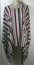 Plus size poncho style top/tunic,striped,burgundy/blue/black,size1X-2X,3X-4X