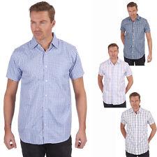Mens Pierre Roche Checkered Short Sleeve Casual Summer Shirt - 4 Colours