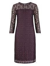 NUOVO M&S Collezione Pizzo Floreale Viola Profondo Cornelli Shift Dress taglia UK 8 & 14