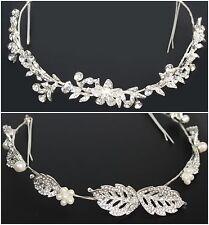 Luxus Strass Blumen Diadem Haarreif Tiara Blüten Haarschmuck Hochzeit Neu