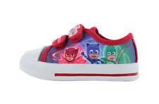 Garçons P J Masks Bleu et Rouge Basse Baskets en Toile Chaussures Sport