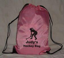 PERSONALISED GIRLS HOCKEY BAG - SPORTS GYM EXERCISE PE SCHOOL DRAWSTRING BAG