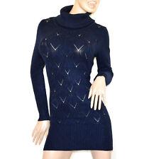 Suéter azul mujer jersey vestido de punto manga larga cuello alto maxi pull G77
