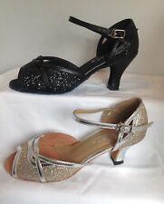 Ladies Black or Silver Ballroom, Latin, Salsa, Jive Dance Shoes - UK Sizes 3 - 8