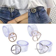 Women Long Transparent Belt Heart Pin Buckle Waist Female Belt Waistband Gif RBF