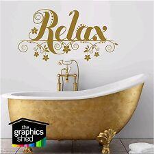 bathroom quote wall art RELAX cut floral vinyl decal sticker art