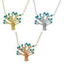 Sterlingsilber Halskette M / Türkis Perlen Baum-Anhänger
