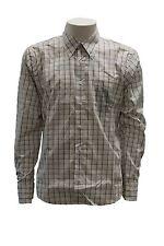 Camicia da uomo bianca viola a quadri ConteofFlorence manica lunga cotone casual
