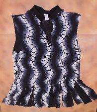 NWOT Praisewear Black Silver Burnout mens Praise top open collar SisterlyGrace