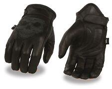 Milwaukee Men's Leather Riding Glove w/ Reflective Skull Design & Gel Palm