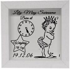 Marco De Reloj De Nacimiento Bebé Personalizado Calcomanía-Pegatina De Vinilo Para Marco De Caja etc.