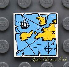 NEW Lego Pirate Minifig TREASURE MAP 2x2 TILE White Yellow & Blue w/Ship 4768