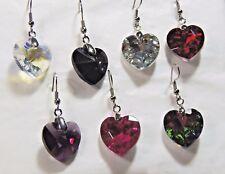Handmade, Sparkly, Glass  Rhinestone Heart Earrings (NB062)