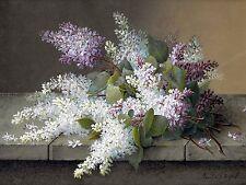BRANCH OF LILACS R. Longpre flower Tile Mural Wall Backsplash Art Marble Ceramic