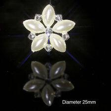 PEARL & DIAMANTE SILVER FLOWER RHINESTONE EMBELLISHMENTS 2.5CM WEDDINGS CRAFTS