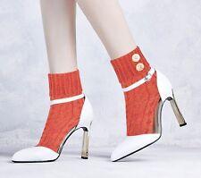 Damen gehäckelt Socken mit Knöpfen, baumwollreich, leuchtend warm Farben