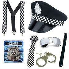 POLICE FANCY DRESS ACCESSORIES CHOOSE HAT TIE BRACES AVIATORS BADGE CUFFS BATON