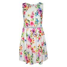 Girls Skater Dress Kids Pink & Purple Floral Print Summer Party Dresses 2-13 Yr