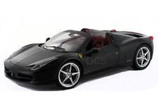 HOT WHEELS ELITE FERRARI 458 ITALIA SPIDER FLAT BLACK1/18 DIECAST CAR X5485