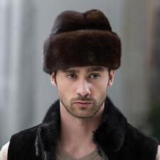 Noble Homme Chapeau Fourrure Vraie Vison Bonnet Russe Cossack Chapka Mignon Velu