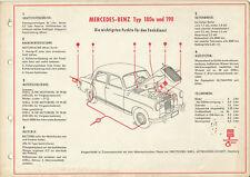 Mercedes 180a 190 Shell Tankdienst Schmieranweisung 50er J. 1955 Auto PKWs Benz