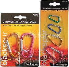 ALUMINIUM SPRING D LINK SET COLOURED CARABINERS SNAP CLIPS HOOK CAMPING