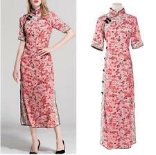 Chinese Qipao Women Floral Side Slit Long Cheongsam Elegant Stand Collar Dresses