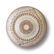 5 antik wirkende kupfer geweißte Metallknöpfe mit edlen Ornamenten (5944ks)