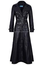 Ladies New Black 100 % Real Leather Full-Length Long Goth Coat Rock Jacket 3490