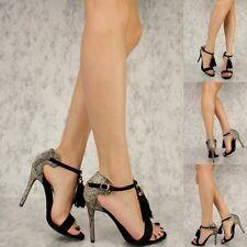 Sexy Black Animal Print Fringe Tassel Stiletto High Heel Open Toe Sandals H189