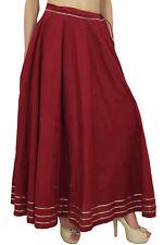 Bimba Women's Maxi Maroon Skirt Designer Gota Patti Drawstring Tassel Waist