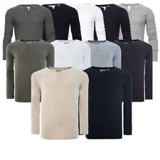 Men Grandad T Shirt Long Sleeve Jersey Ribbed Top Cotton Rich Brave Soul