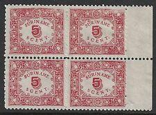 Surinam 1909 NVPH 59 MarginBloc of 4  UNG(as issued)
