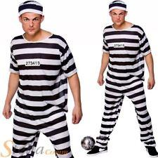 Mens Prison Break Convict Costume Adult Prisoner Stag Do Fancy Dress Outfit