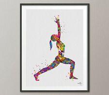 Warrior I Yoga Art Watercolor Print Virabhadrasana I Yoga Studio Decor Art-1455