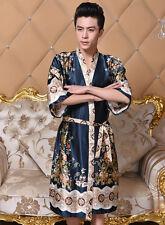 Men Japanese Faux Silk Kimono Pajama Robe Gown Sleepwear Bathrobe Nightwear New