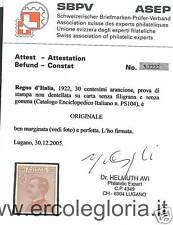 ITALIA REGNO: CEI PS104 : PROVA DI STAMPA - CERTIFICATO