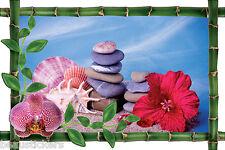 Sticker mural trompe l'oeil déco bambou galets fleur réf 996