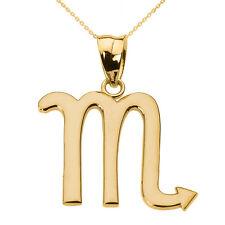 Fine 10k Yellow Gold Scorpio November Zodiac Sign Horoscope Pendant Necklace