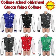 Felpa Giacca Unisex Uomo-Donna Old School Jacket College Moda Football Baseball